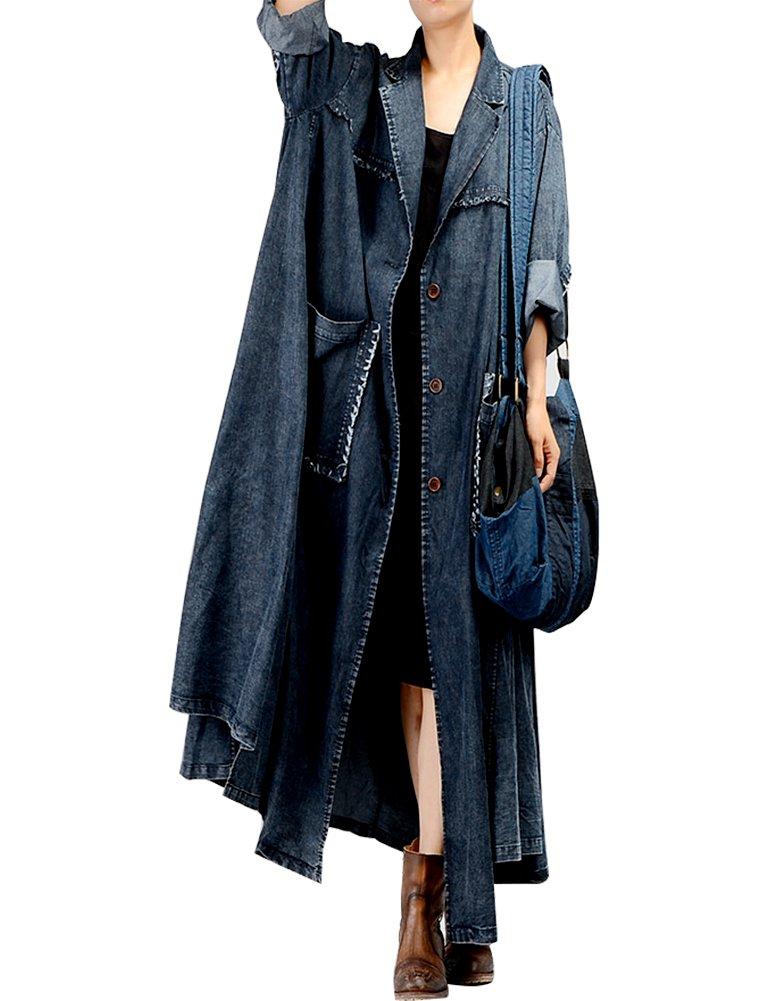 IDEALSANXUN Womens Casual Loose Fit Long Maxi Large Hem Button Down Denim Jacket Outerwar Plus Size With Big Pockets (One Size, 2 Blue)