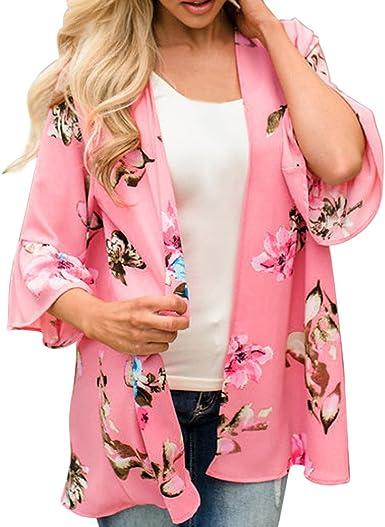Mujer Invierno Otoño Verano Floral Chifón Kimono Cárdigans Blusa Cover Ups: Amazon.es: Ropa y accesorios