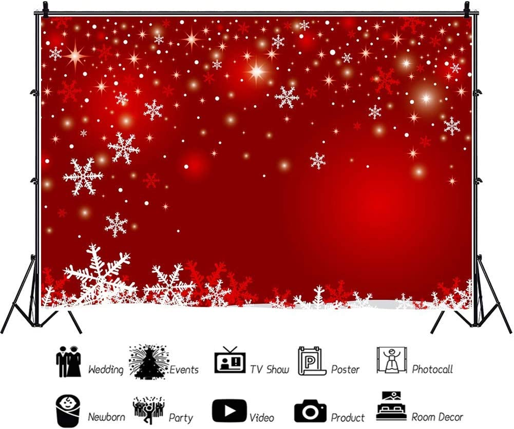 White and Red Snowflakes Photography Backdrop 8x6ft Christmas Red Background Festive Sparkle Bokehs Xmas Holiday Carnival Celebrate New Year Party Decor Baby Kids Photo Prop Studio Poster