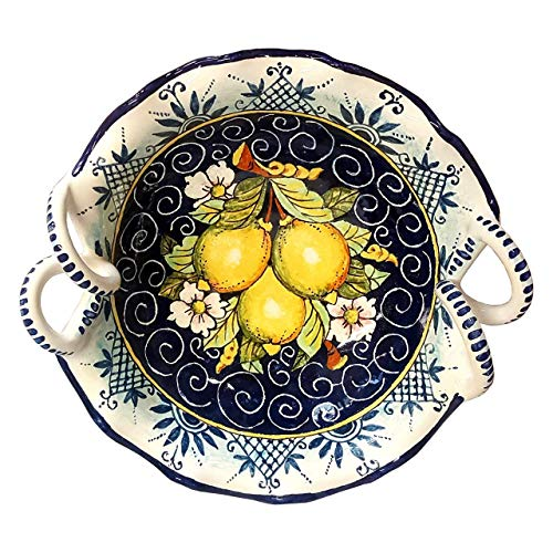 (CERAMICHE D'ARTE PARRINI - Italian Ceramic Art Pottery Serving Bowl Centerpieces Hand Painted Decorative Lemons Made in ITALY Tuscan)