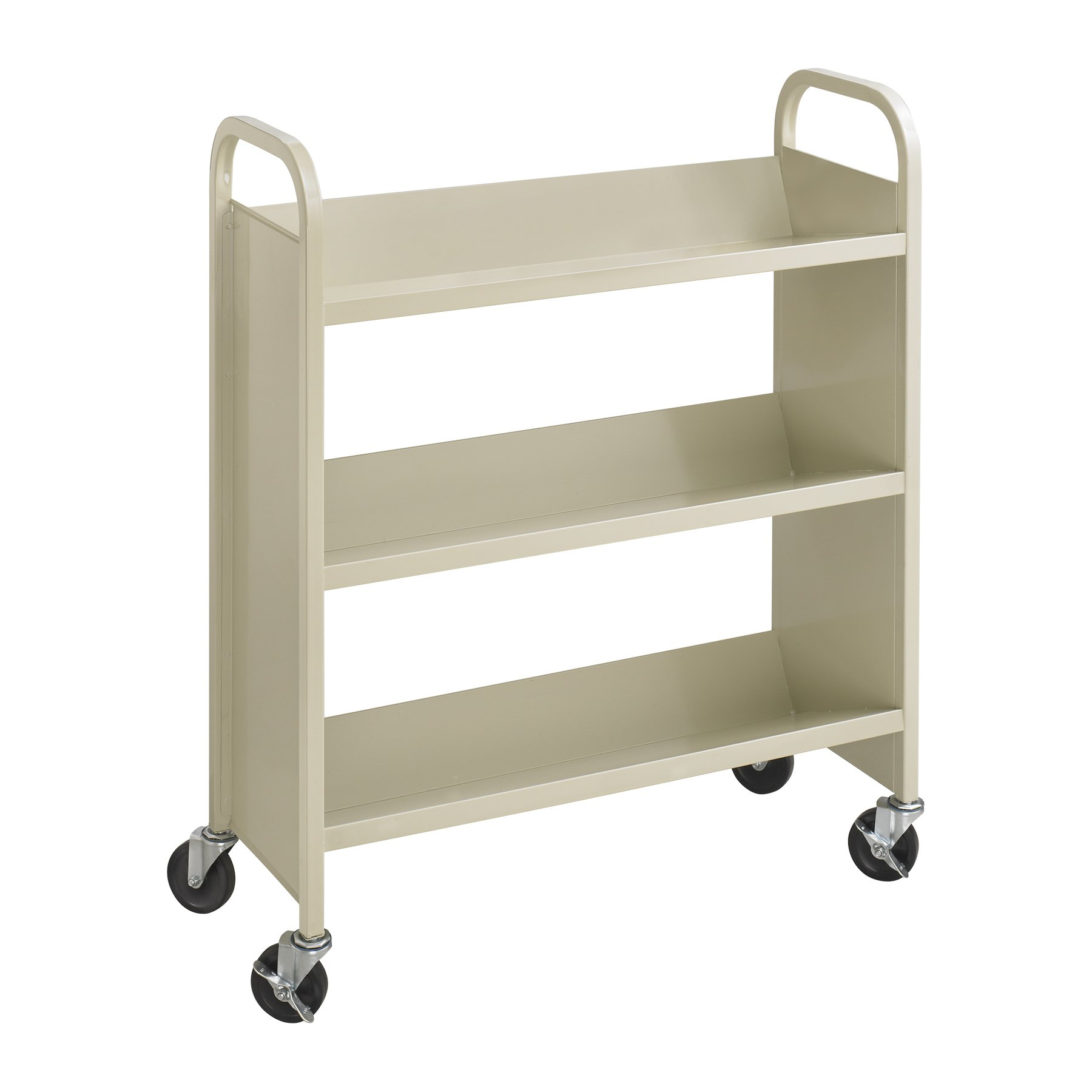 Safco Products 5358SA Steel Single-Sided Book Cart, 3 Shelf, Sand