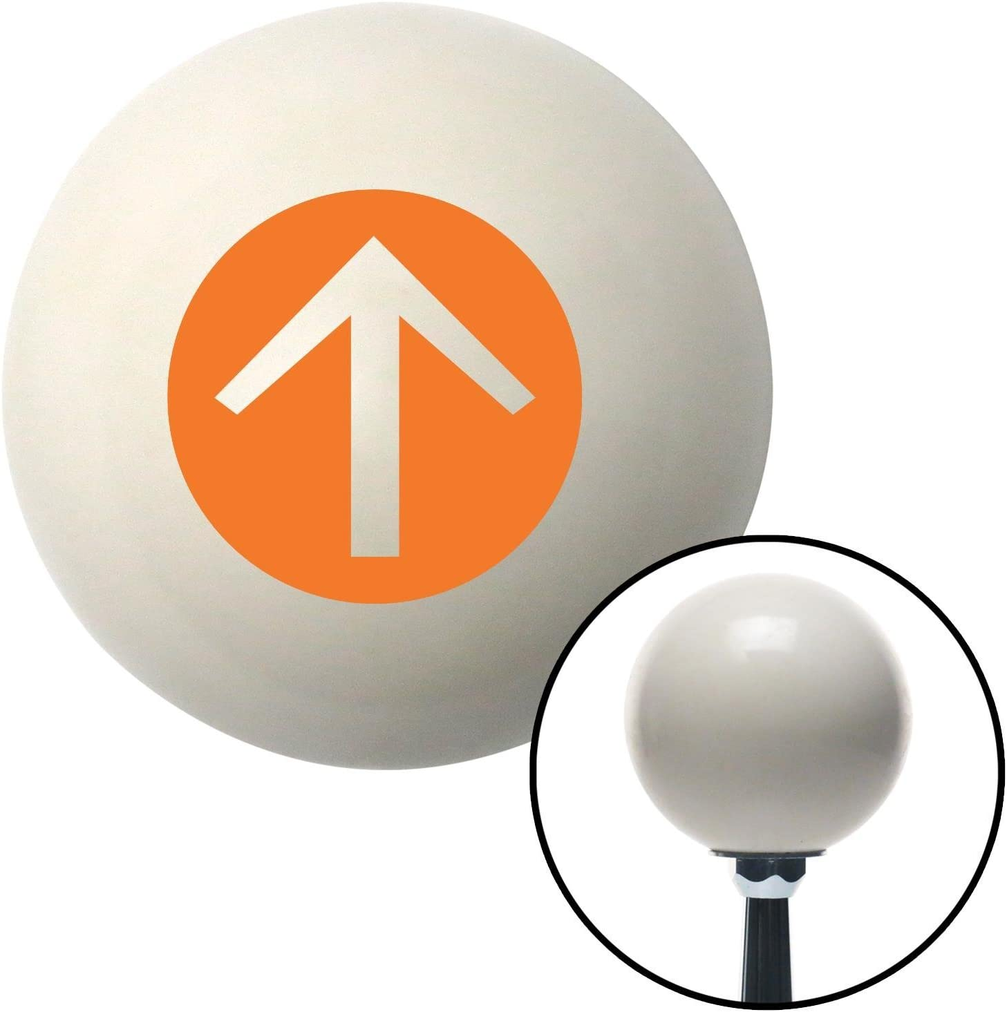 American Shifter 30173 Ivory Shift Knob with 16mm x 1.5 Insert Orange Circle Directional Arrow Up