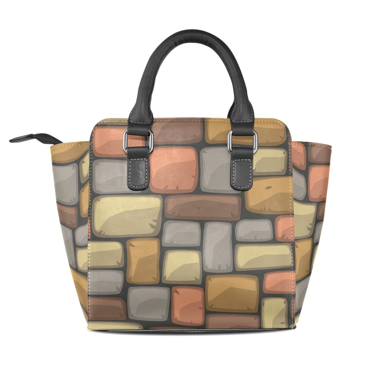 imobaby Colorful Brick Wall Texture PU Leather Girls Top-Handle Handbags Single-Shoulder Ladies Tote Crossbody Bag Messenger Bags For Women