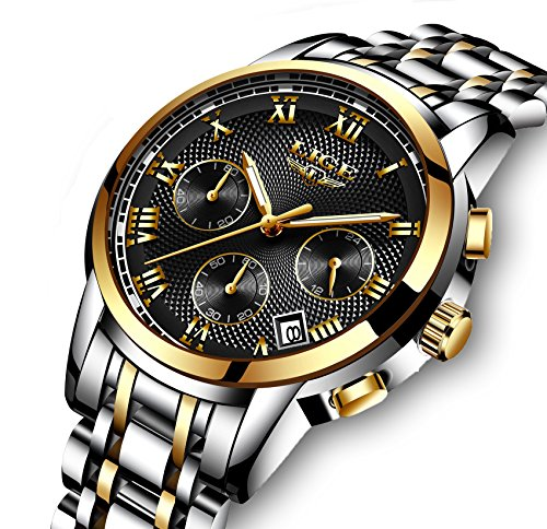 - Watches Men Quartz Analog Stainless Steel Chronograph Date Waterproof Watch Silver Black
