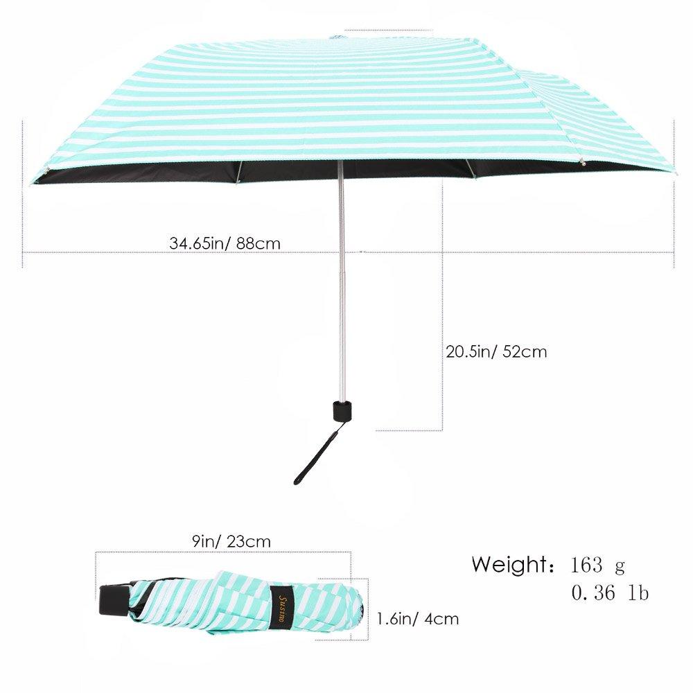 NEW SUSINO Small Mini Sun & Rain UV Protection Umbrella Lightweight Compact Travel for Women Kids Purse Backpack Mint Green/White by NEW SUSINO (Image #2)