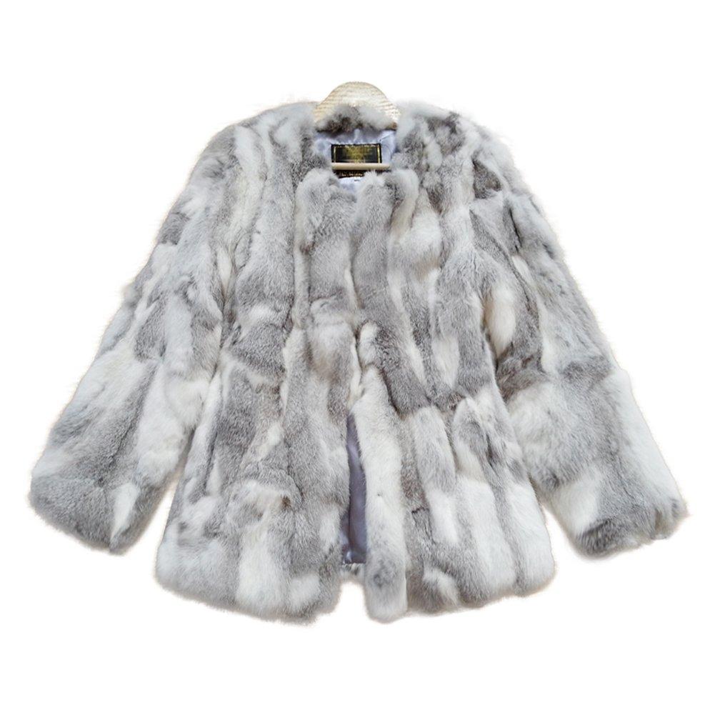ETHEL ANDERSON Women Fur Coat - Winter Warm Real Rabbit Fur Jacket Outerwear Coat