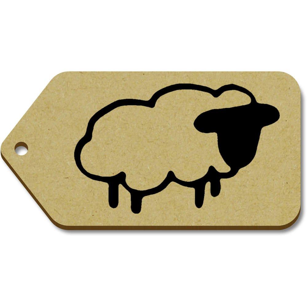 Azeeda 10 x Grand 'Mouton' etiquettes de Bagage / Cadeau en Bois (TG00063510)