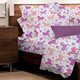 3 Piece Kids Girls White Purple Pony Themed Sheet Set Twin Size, Coral Pink Ponies Bedding Horse Pattern Stars Moon Stripes ZigZag Farm Ranch Country Green Farmhouse Galloping Riding, Microfiber