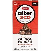 Alter Eco Deep Dark Quinoa Crunch Organic Chocolate Bar, 80 g