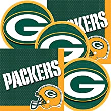 Green Bay Packers NFL Football Team Logo Plates And Napkins Serves 16