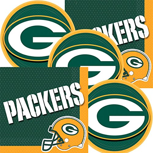 JJ Party Supplies Green Bay Packers NFL Football Team Logo Plates And Napkins Serves 16