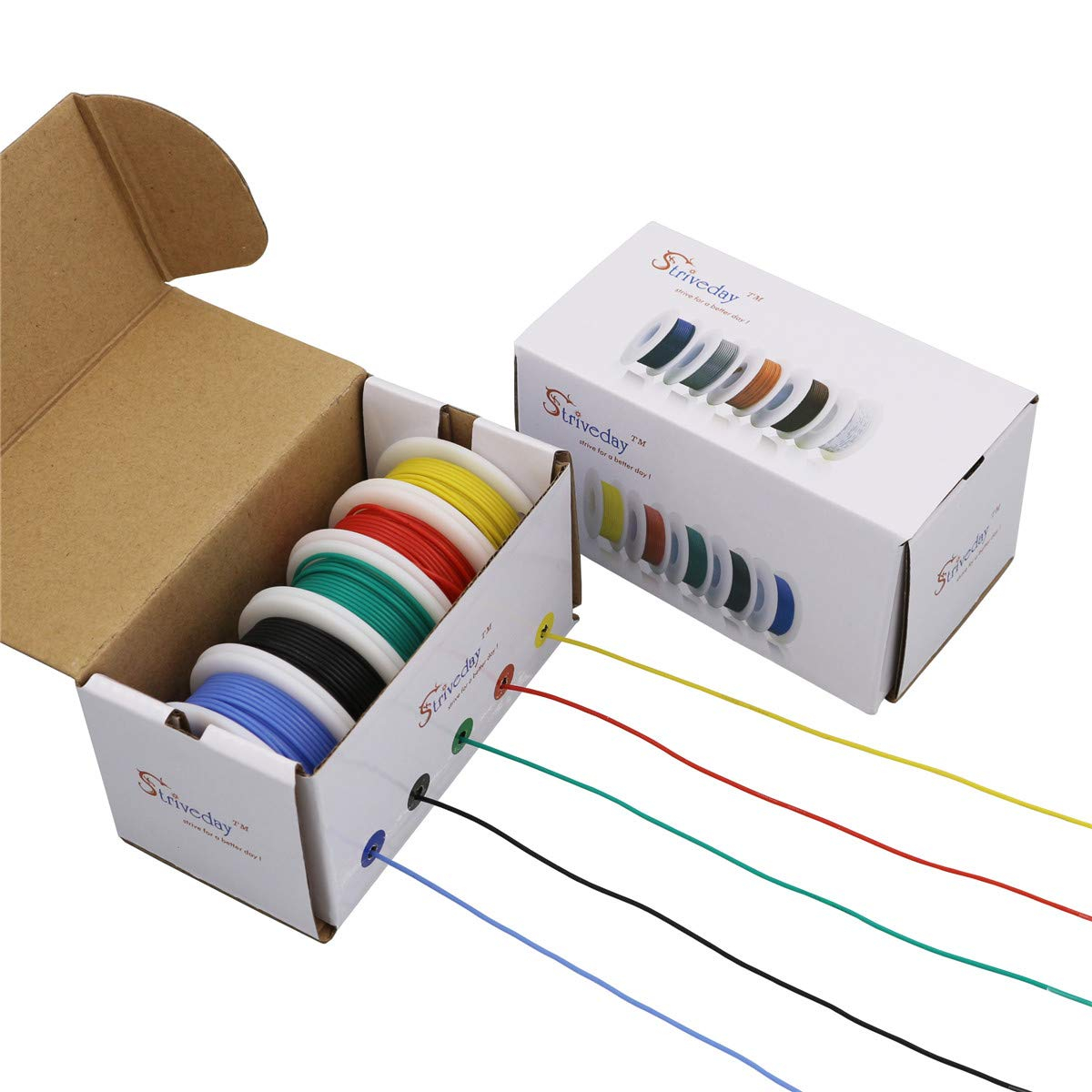 Striveday/™ 30 AWG Flexible Silicone Wire Electric wire 30 gauge Coper Hook Up Wire 300V Cables electronic stranded wire cable electrics DIY BOX-1