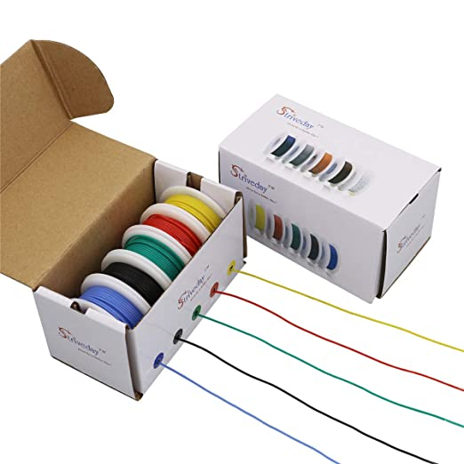 Striveday™Flexible Silicone Wire 22awg Electric wire 22 gauge Coper Hook Up Wire 300V Cables electronic stranded wire cable electrics DIY BOX-1