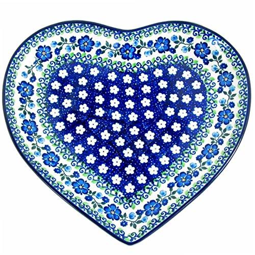 (Polish Pottery Handmade 9'' Heart Plate-Dish 925-Spring Melody)