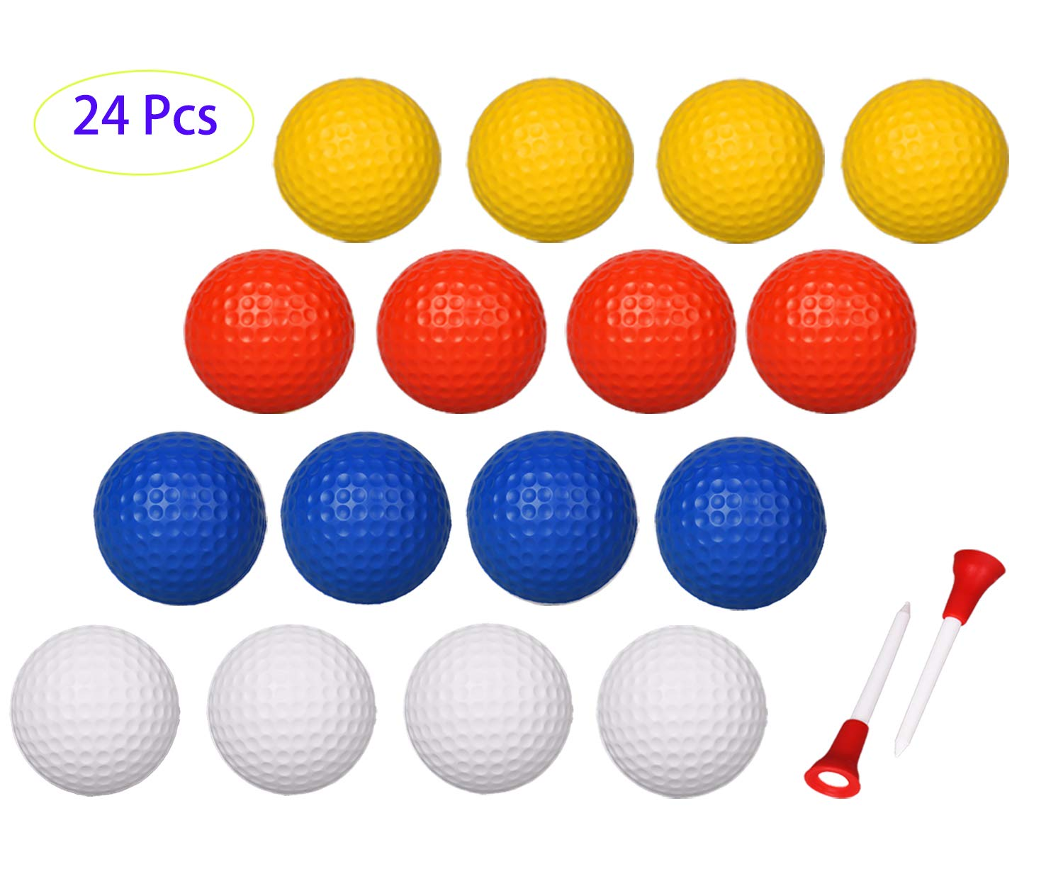 Adwikoso 24 Pcs Practice Golf Balls Foam Soft Elastic Golf Balls, Indoor Putting Green Outdoor Golf Training Aid Balls 4 Colors with 2 Golf Ball Tees by Adwikoso