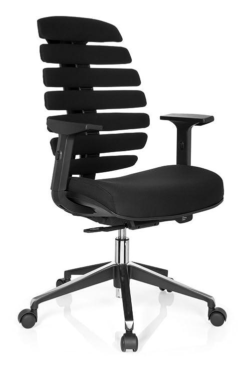 hjh OFFICE 714500 silla de oficina ERGO LINE II tejido negro, respaldo ergonómico, con apoyabrazos ajustables, muy cómodo, buen acolchado, soporte ...
