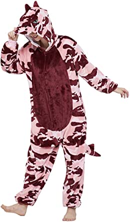 CALANTA Cow Onesie Unisex Adult Animal Costume Women Pajamas Plush One Piece Cosplay Halloween Christmas