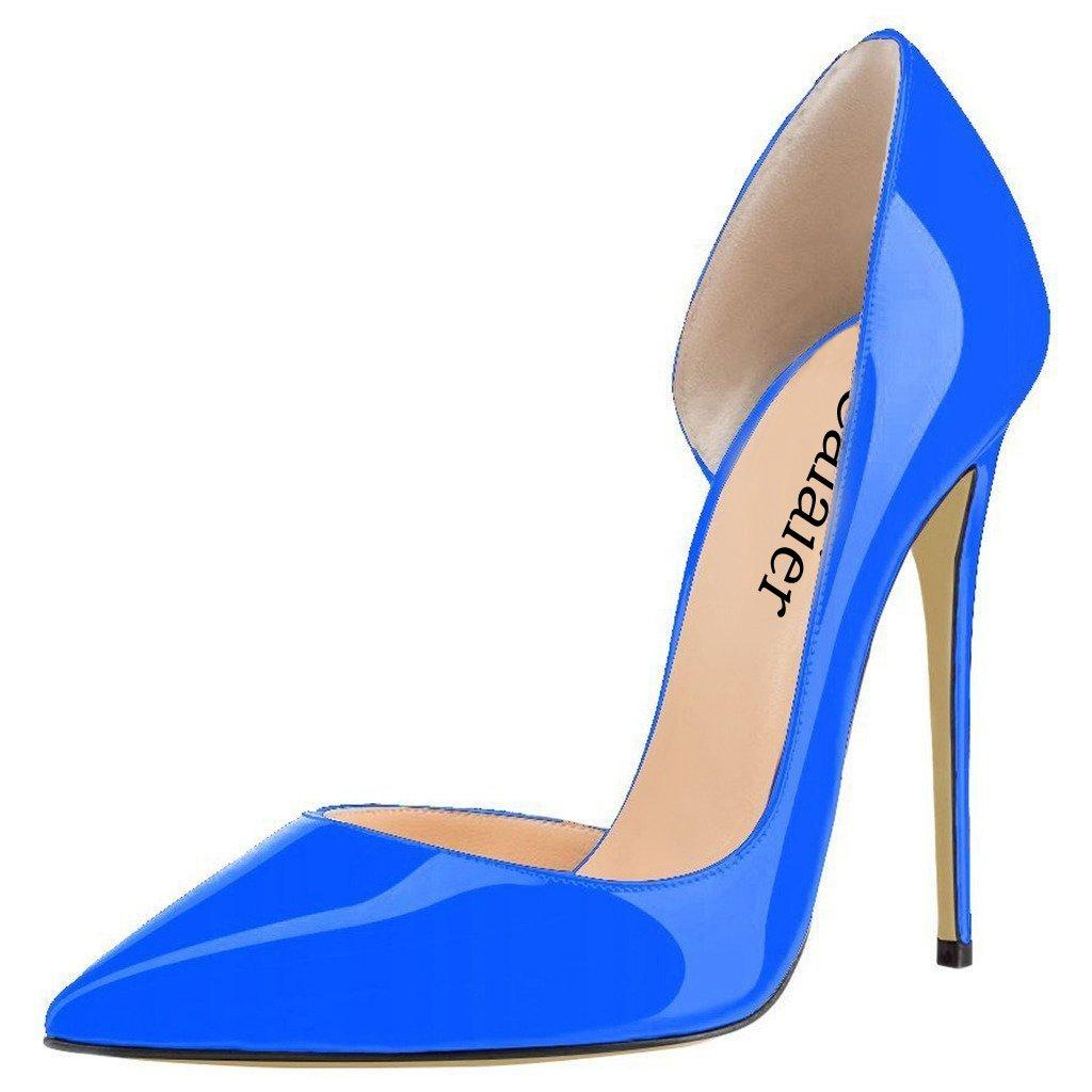 Calaier Mujer Cabecause Tacón De Aguja 12CM Sintético Ponerse Zapatos de tacón 39 EU Azul