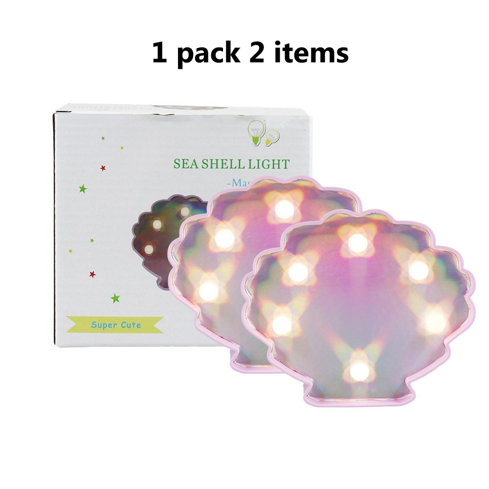 DELICORE Decorative Sea Shell LED Lights,Warm White Nursery Night Light Gift Children, Festival Party Birthday Christmas Bar Anniversary Baby Room Holiday Wall, 2 Lights in 1 Pack