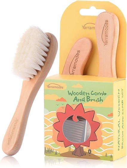 Spazzole in legno naturale con setole di capra morbide Spazzole per capelli per bambini e serie di pettini per neonati Regalo perfetto per la doccia per il bambino