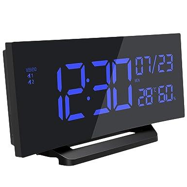 Mpow Reloj despertador digital, Reloj humedad temperatura Medidor, Reloj de pantalla curva, alarma dual, 3 tonos, Snooze, reloj multifuncional con ...