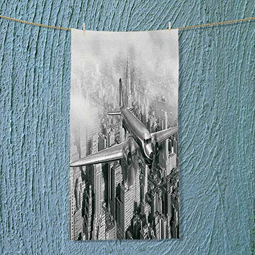 SOCOMIMI Gym Shower Towel Nostalgic Dated Plane Flying Over Skyscrapers in New York City Urban Life Events Soft Cotton Machine Washable for $<!--$15.99-->