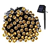 Yasolote Waterproof Fairy Lights, Solar Garden Lights, 32.8ft 12m 100 LED 8 Twinkling Modes, Decorative Outdoor Lighting, String Lights for Home, Gazebo, Patio, Lawn, Yard, Fence, Wedding, Party, Holiday, Festival Ornament (Warm White)