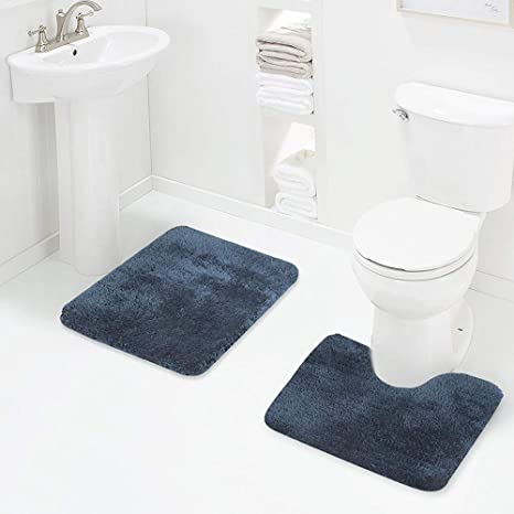 Amazon Com Walensee Shaggy 2 Piece Bath Rug Sets Navy 20 X 24 U Shape Contour Rug 20 X 32 Bathroom Rug Machine Wash Dry Bath Mats For Bathroom Plush Absorbent Bathroom Rugs
