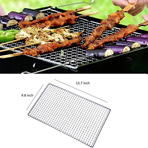- 1 Pack Stainless Steel Grill Net,BBQ Grill Stainless Steel Net Wire Mesh Camping Barbecue Outdoor Picnic Cooking (40x25cm/15.7x9.8inch)