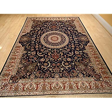 Luxury Navy Silk Persian Area Rug 5x7 Traditional Living Room Navy Silk Rug Persian Tabriz Dining Room Rugs 5x8 Area Rugs