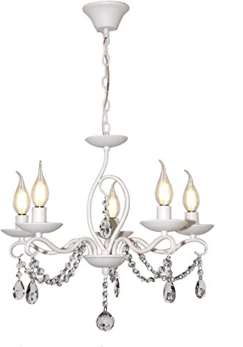 Ralux French Country Crystal Chandelier Candle Lamps 5 E12 Bulbs Wrought Iron White Hanging Adjustable Chain Pendant