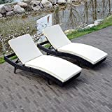 Sliverylake Adjustable Outdoor Rattan Wicker Pool Patio Chaise Lounge Chair+Cushion ( Set of 2 )
