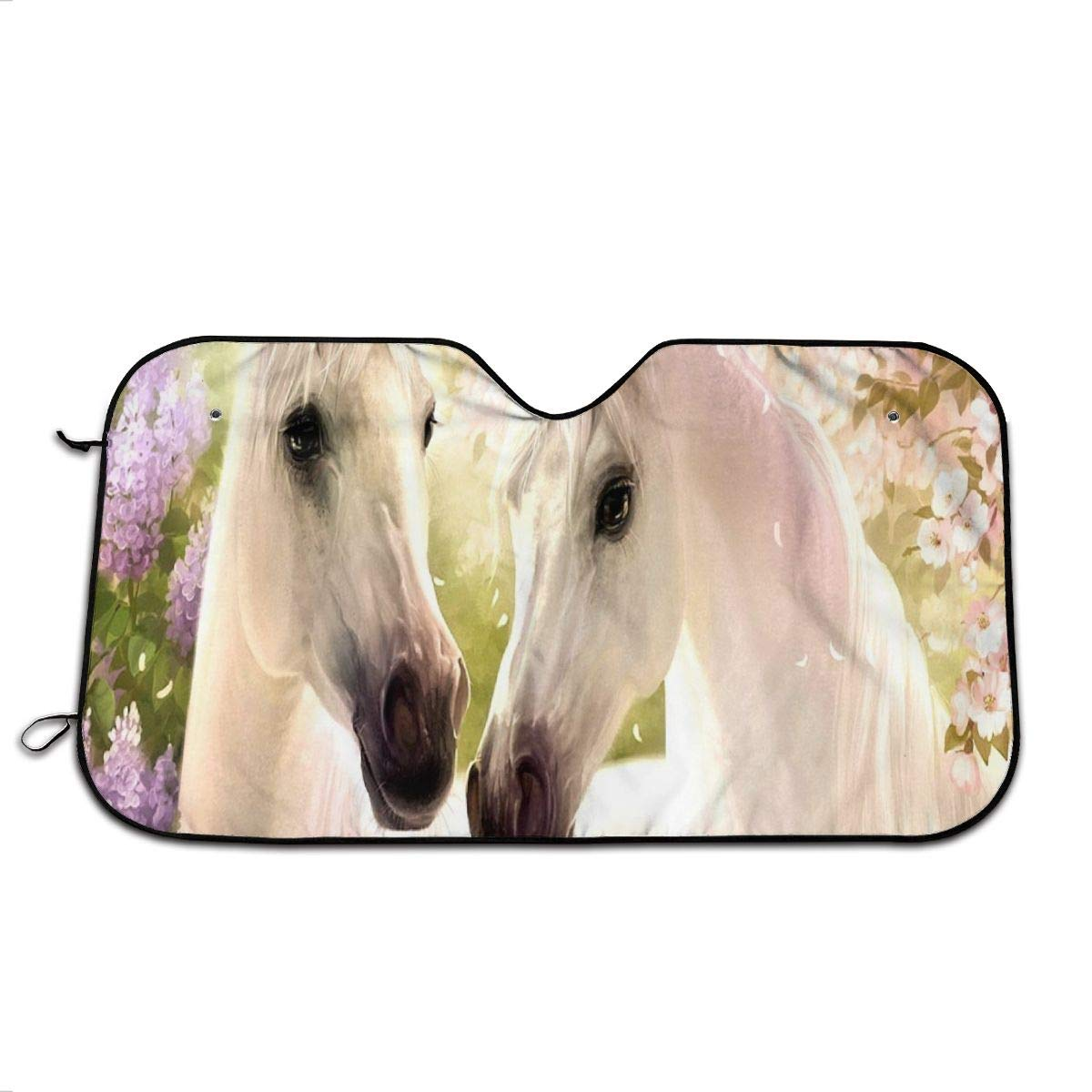 Valentine's Day Horse Car Windshield Sunshade, Front Auto Car Windshield Sun Shade Folding Silvering Sun Visor - UV Coating for UV Ray Deflector 51'' x 27.5'' by Perfectly Customized
