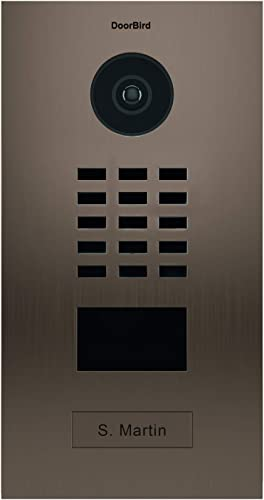 DoorBird IP Video Door Station D2101BV, Bronze Brushed Stainless Steel, Flush-mounted with HD Camera – POE Capable