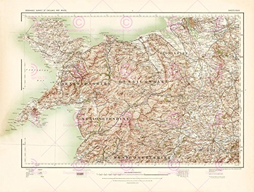 Doppelganger33 Ltd Map Antique 1902 Os UK Anglesey North Wales Large Replica Canvas Art Print
