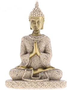 JS&Walk The Hue Sandstone Buddha Maitreya Statue Sculpture Hand Carved Figurine Suit for Statue Home Decoration Figurine Home Desktop Office Decor - Sandstone