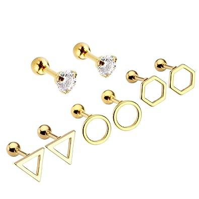 Zysta 8pcs 16G Cubic Zirconia Gem Stainless Steel Cuff Ear Helix Cartilage Cuff Ring Earrings Mens Womens Body Jewelry Piercing nso2YsMul1
