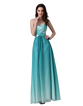 Mypuffgirl Womens Ombre Green Sweetheart Pleated Chiffon Prom Dress Cut Out Back ...