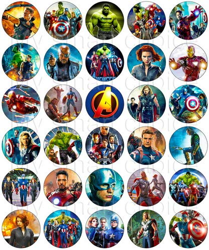 30 x Edible Cupcake Toppers - Avengers Movie Party Collection of Edible Cake Decorations | Uncut Edible Prints on Wafer Sheet]()