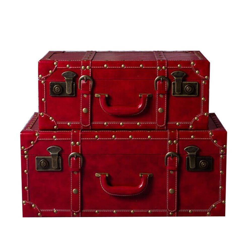 KIKIRon-Home Holz-Schatztruhe Im chinesischen Stil Hochzeit Koffer Big Red Koffer, Extra Large Aufbewahrungskoffer Set 2 Truhen for Schlafzimmer, Wohnzimmer und Hochzeitsdekoration