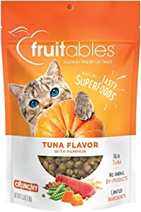 Fruitables Cat Treats | Crunchy Treats For Cats | Healthy Low Calorie Treats Packed with Protein| Free of Wheat, Corn and Soy | Made with Real Tuna with Pumpkin | 2.5 Ounces
