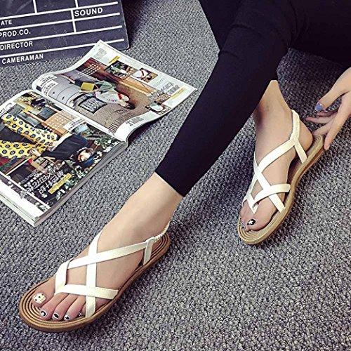 Price comparison product image Hemlock Women Bandage Bohemia Sandals Shoes Summer Roman Sandals (US:7, White)