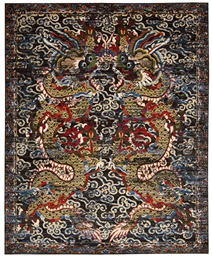 Nourison Bbl16 Dynasty (DYN05) Midnight Rectangle Area Rug, 7-Feet 9-Inches by 9-Feet 9-Inches (7'9