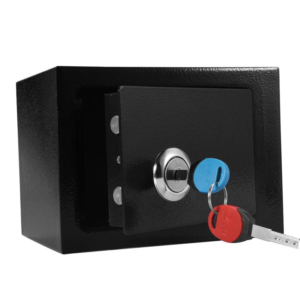 Yosooo Security Box Safe, Durable Strong High Security Steel Safe Box Key Operated for Money Cash Storage Home Office, 9.05 x 6.69 x 6.81inch