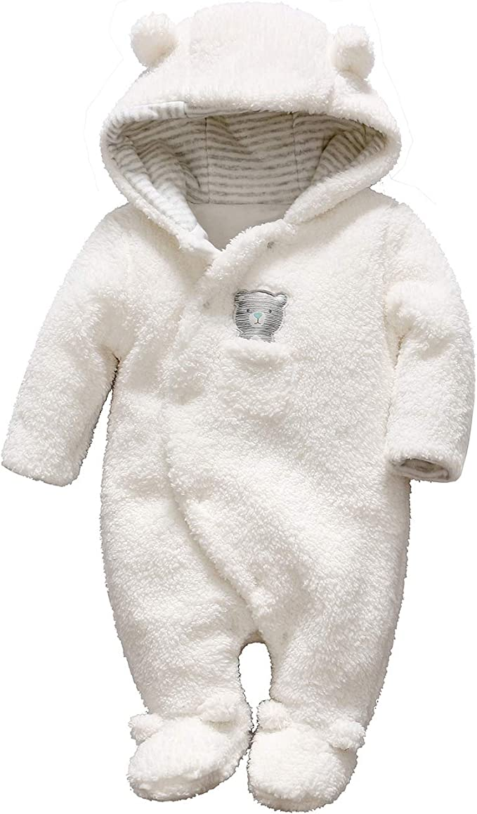 Newborn Baby Boys Girls Hooded Romper Winter Jumpsuit Bodysuit Clothes Outfit US