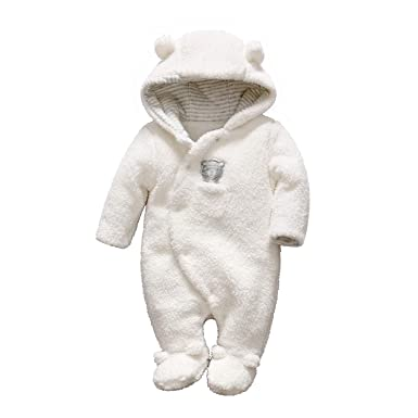 becf60132 Amazon.com  Newborn Baby Romper Winter Bear Style Fleece Hooded ...