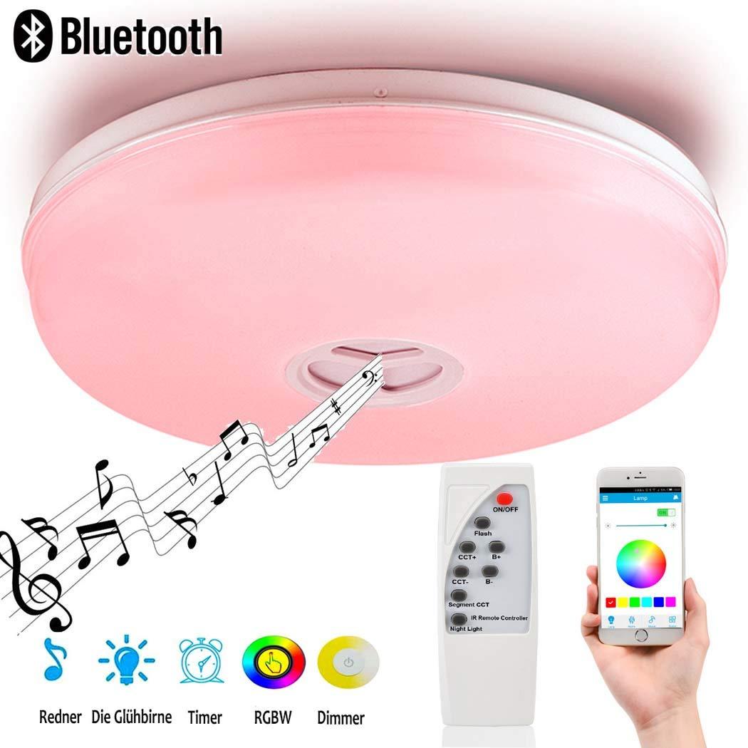 24W LED Deckenleuchte, 95V-265V, Ø40CM Moderne Musik, die Deckenlampe mit Blautooth-Lautsprecher spielt, APP Dimmable Flush Mount für Kinderzimmer-Wohnzimmer