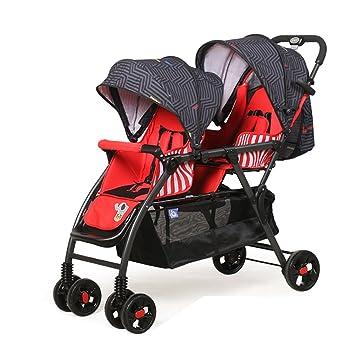 Cochecito XUERUI Bebé Carrito Plegable Cómodo Comodidad Hermosa Seguridad 2 Colores Gemelos (Color : Rojo): Amazon.es: Hogar