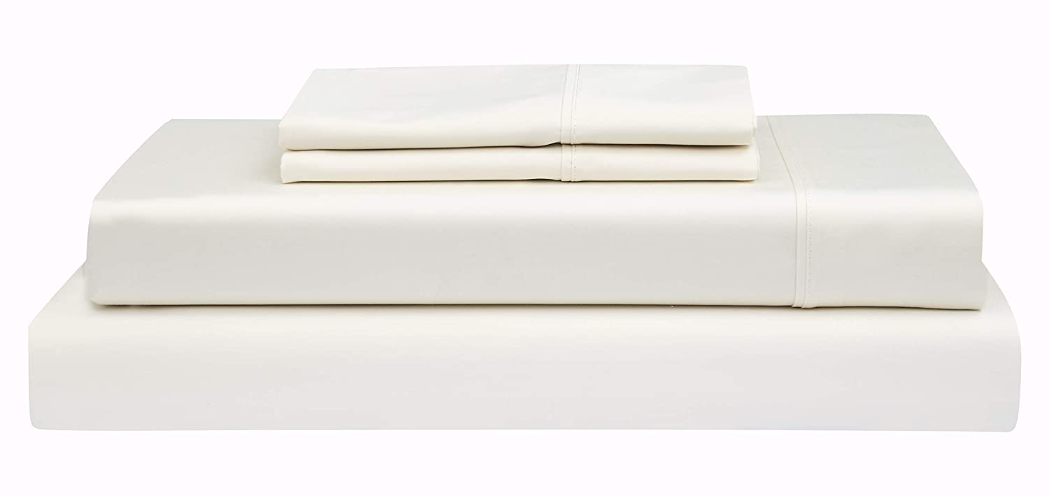 Beige Full Boston Linen Co. 500 Thread Count, 100% Cotton Sheet Set – Extra Soft, Luxury Finish – Smooth and Silky Sateen Weave Long-Staple Combed Cotton – 4 Piece Set – King, White