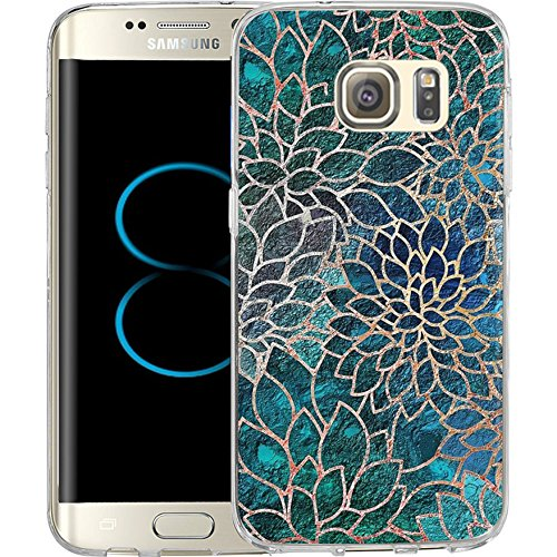 S8 Case Blue-green gem floral design, LAACO Scratch Resistant TPU Gel Rubber Soft Skin Silicone Protective Case Cover for Samsung Galaxy S8
